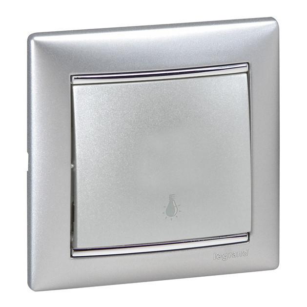 Valena egypólusú nyomó (N101), aluminium burkolattal keret nélkül, süllyesztett, lámpajellel 10A 250V (Legrand 770112)