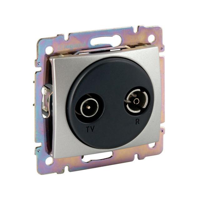 Valena végzáró TV-Rádió csatlakozóaljzat 1,5 dB, aluminium burkolattal, keret nélkül,süllyesztett (Legrand 770132)