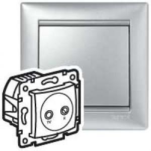 Valena átmenő TV-Rádió csatlakozóaljzat 14 dB, aluminium burkolattal, keret nélkül,süllyesztett (Legrand 770134)