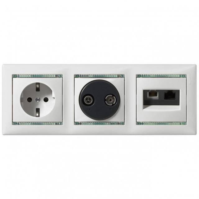 Valena végzáró TV-Rádió csatlakozóaljzat 1,5 dB, elefántcsont burkolattal, keret nélkül,süllyesztett (Legrand 774332)
