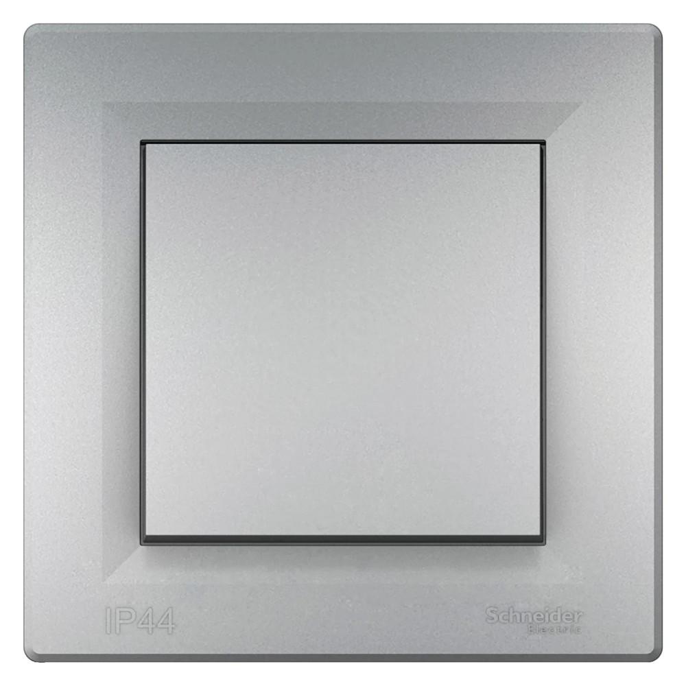 Asfora VÍZMENTES egypólusú kapcsoló (101), aluminium BURKOLATTAL, KERETTEL, süllyesztett, vízmentes (IP44) 10A 250V ( Schneider electric EPH0100261)