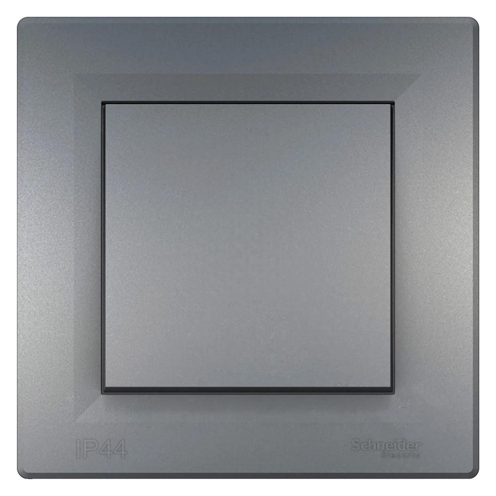 Asfora VÍZMENTES egypólusú kapcsoló (101), acél BURKOLATTAL, KERETTEL, süllyesztett, vízmentes (IP44) 10A 250V ( Schneider electric EPH0100262)