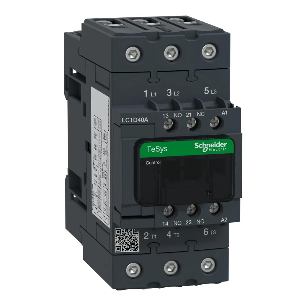 Mágneskapcsoló, 18,5kW/40A (400V, AC3), 600V AC 50/60 Hz vezerlés, 1Z+1Ny, csavaros csatlakozás, TeSys D Everlink (Schneider LC1D40AX7)