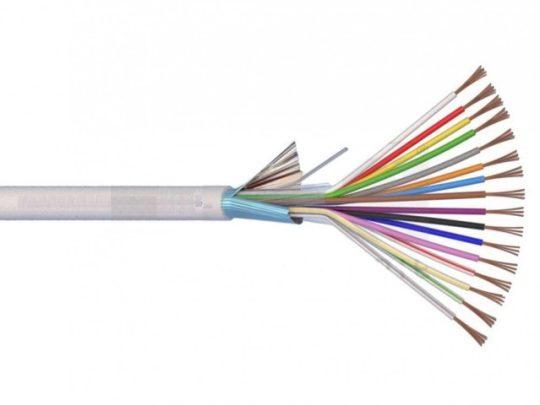 Riasztókábel (Li-XY(St)Y) 2x0,75+8x0,22 mm2 fehér sodrott réz PVC szigetelésű 300V kábel