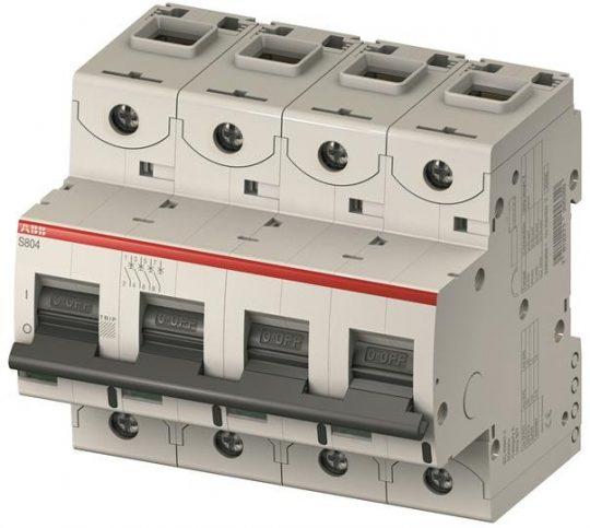 ABB S804C-B10 kismegszakító 4P, 10A, B karakterisztika, 25kA (ABB 2CCS884001R0105, S804CB10)