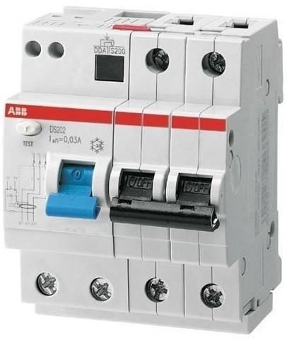 ABB 2CSR252001R1255 kismegszakítóval kombinált áramvédő kapcsoló (FI-relé), 2P, B karakterisztika, 25A, 30mA, 6kA, AC osztály (ABB DS202 AC-B25/0.03)