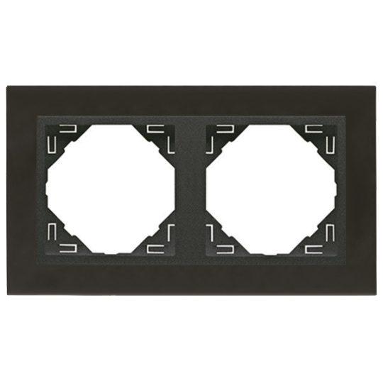 Efapel Logus90 90920 TQS 2-es keret nikkel / szürke, függőleges és vízszintes elhelyezéssel, METALLO (Efapel 90920 T QS)