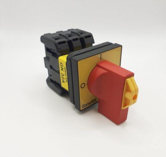 Ganz GK32A T203/04E Vészleállító kapcsoló, 32A-es, BE-KI kapcsoló IP65-ös védelemmel