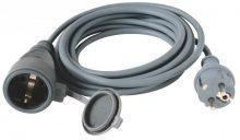 HOME NV 7-10/GY hosszabbító, fekete színben, 10 méteres gumikábellel, 3x1,5nmm
