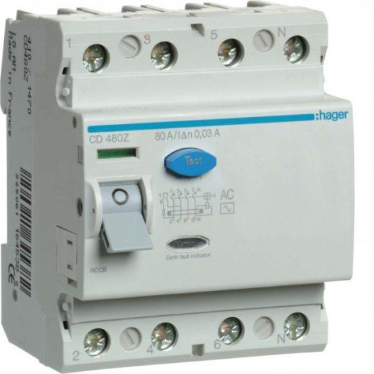 Hager CD480Z FI-relé 4P, 80A, 30mA, AC