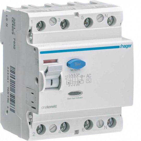 Hager CD485Z FI-relé 4P, 100A, 30mA, AC
