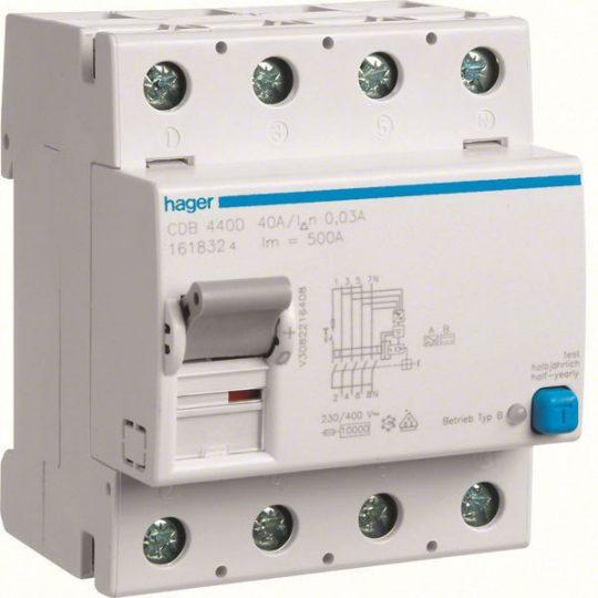 Hager CDB440D Áramvédő-kapcsoló, 4P, 40A, 30mA, B típus