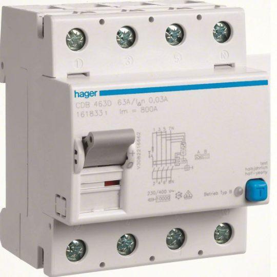 Hager CDB463D Áramvédő-kapcsoló, 4P, 63A, 30mA, B típus