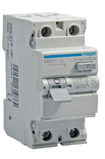 Hager CDC, CDC740J, Áram-védőkapcsoló (Fi-relé), AC osztály, 2P, 40A, 30mA (Hager CDC740J)