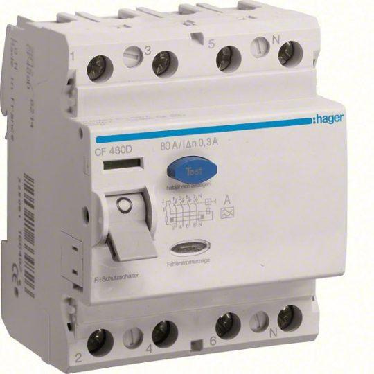 Hager CF480D Fi-relé 4P 80A 300mA