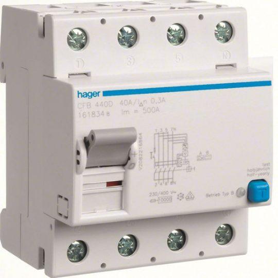Hager CFB440D Fi-relé, 4P, 40A, 300mA, B