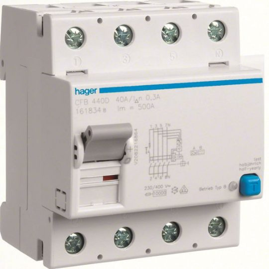 Hager CFB440D Fi-relé, 4P, 40A, 300mA, B