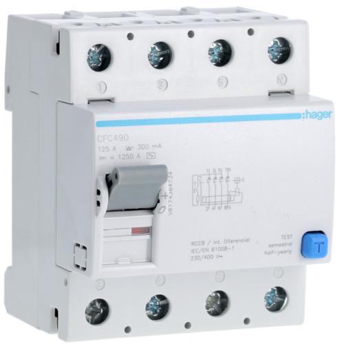 Hager CFC490 Fi-relé, 4P, 125A, 300mA, AC