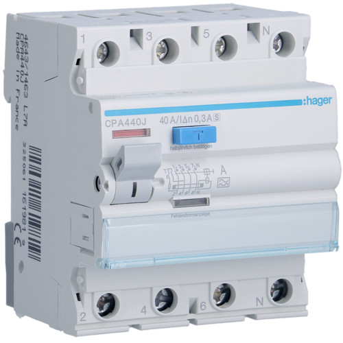 Hager CPA440J Fi-relé, 4P, 63A, 300mA, S