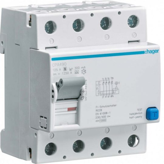 Hager CPA490 Fi-relé, 4P, 125A, 300mA, S