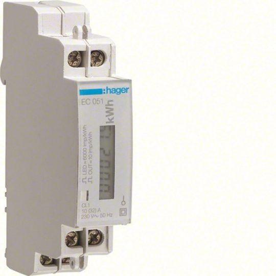 Hager EC051 Fogyasztásmérő, 1 fázisú, 32A direkt, imp. kimenet, hatásos energia