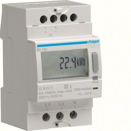 Hager EC150 Fogyasztásmérő, 1 fázisú, 63A direkt, imp. kimenet, részszámlálás, hatásos energia