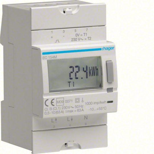 Hager EC154M Fogyasztásmérő, 1 fázisú, 63A direkt, MID hitelesített, kéttarifás, imp. kimenet, hatásos energia