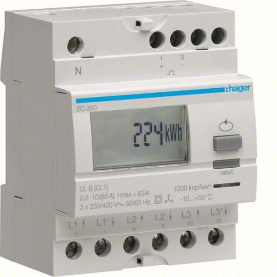 Hager EC350 Fogyasztásmérő, 3 fázisú, 63A direkt, imp. kimenet, részszámlálás, hatásos energia