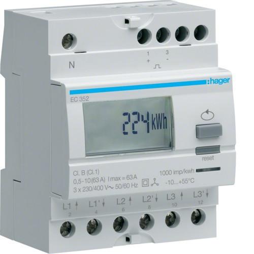 Hager EC352 Fogyasztásmérő, 3 fázisú, 63A direkt, imp. kimenet, kéttarifás, részszámlálás, hatásos energia
