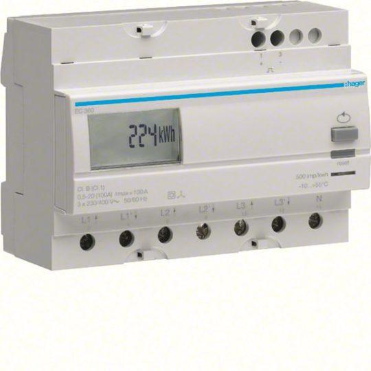 Hager EC360 Fogyasztásmérő, 3 fázisú, 100A direkt, imp. kimenet, részszámlálás, hatásos energia
