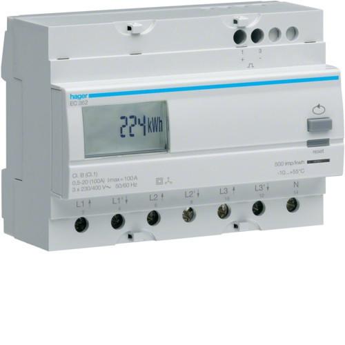 Hager EC362 Fogyasztásmérő, 3 fázisú, 100A direkt, imp. kimenet, kéttarifás, részszámlálás, hatásos energia