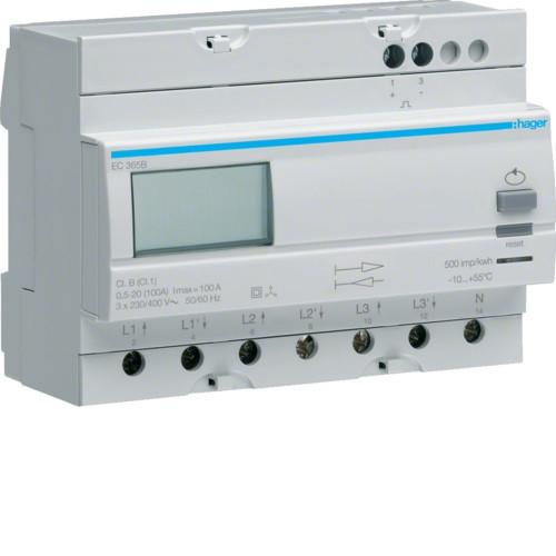Hager EC365B Fogyasztásmérő, 3 fázisú, 100A direkt, imp. kimenet, kétirányú mérés, részszámlálás, hatásos ener
