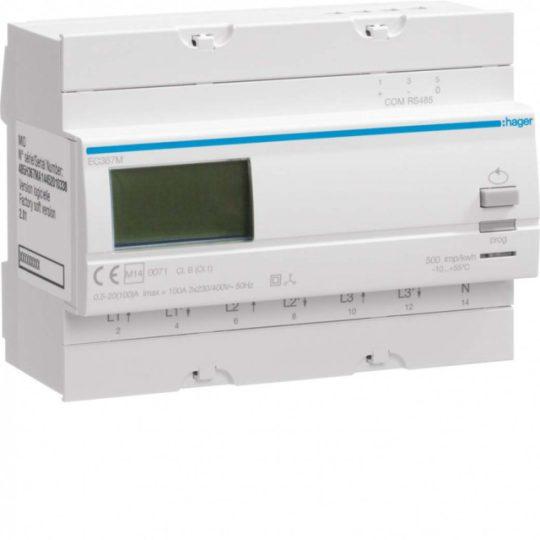 Hager EC367M Fogyasztásmérő, 3 fázisú, 100A direkt, Modbus, MID