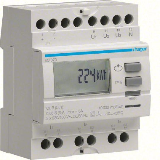 Hager EC370 Fogyasztásmérő, áramváltós, imp. kimenet, részszámlálás, hatásos és meddő energia
