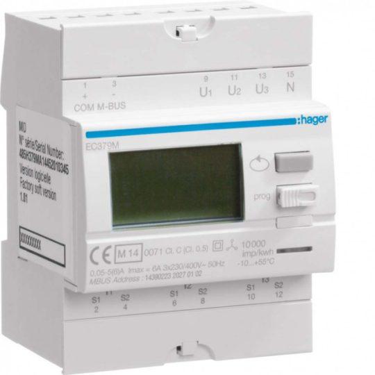 Hager EC379M Fogyasztásmérő, áramváltós, ct/3000/5A M-Bus, MID