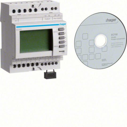 Hager EC700 Impulzusjel összesítő, 7 bemenettel, RS485