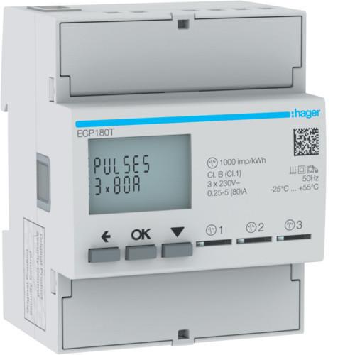 Hager ECP180T fogyasztásmérő 1 fázis 3x80A