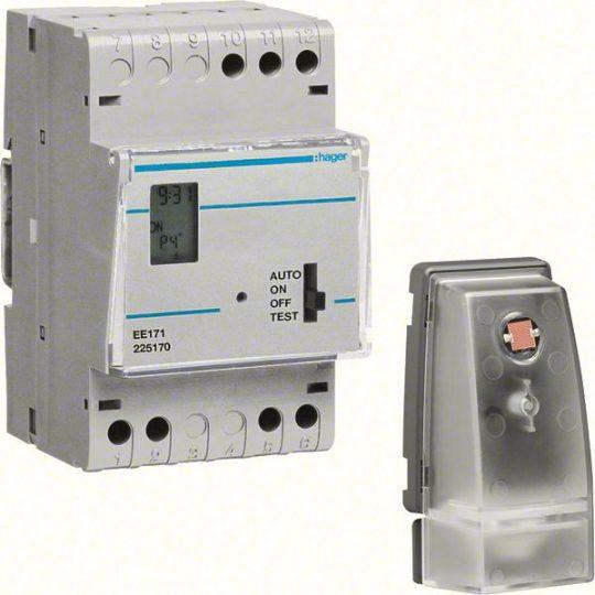 Hager EE171 Alkonykapcsoló, 1 váltó, 10A, 230V AC, moduláris, digitális órával, fk.érzékelővel (EE003), 5-200