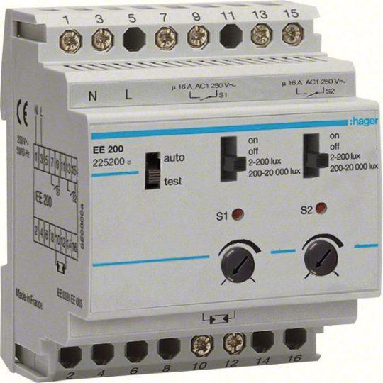 Hager EE200 Alkonykapcsoló, 2 váltó, 2 csatornás, 230V AC, moduláris, 2-20000 Lux, érzékelő nélkül