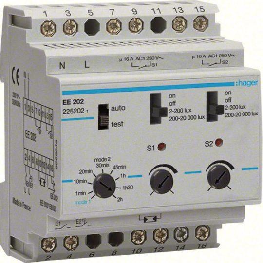 Hager EE202 Alkonykapcsoló, 2 váltó, 2 csatornás, 230V AC, moduláris, 2-20000 Lux, érzékelő nélkül, komfort