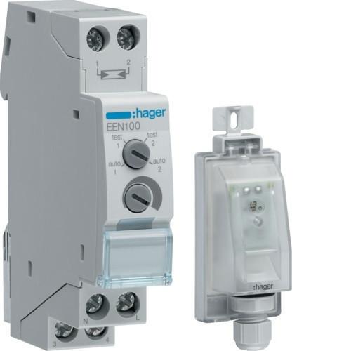 Hager EEN100 Alkonykapcsoló, 1 váltó, 10A, 230V AC, moduláris, falon kívüli (EEN003) érzékelővel, 5-2000 Lux