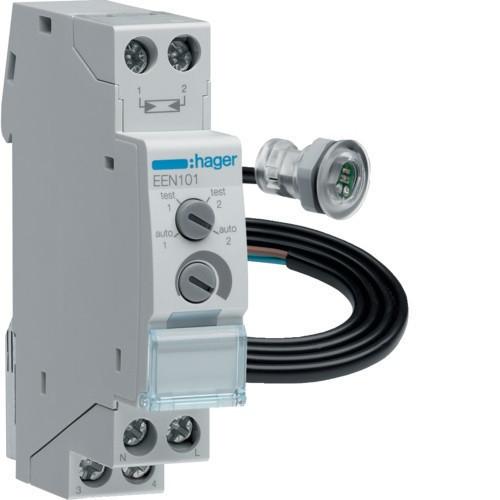 Hager EEN101 Alkonykapcsoló, 1 váltó, 10A, 230V AC, moduláris, sülly. (EEN002) érzékelővel, 5-2000 Lux