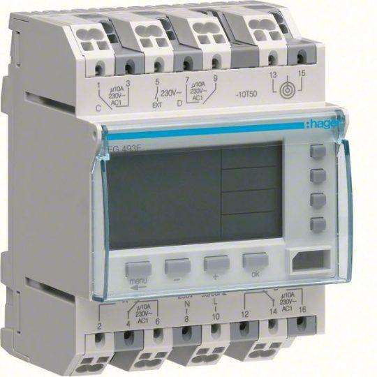 Hager EG493E Digitális éves kapcsolóóra, 2V+2Z, 10A, DCF77, 5 év járási tart., háttérvil., vakáció mód, jelenl
