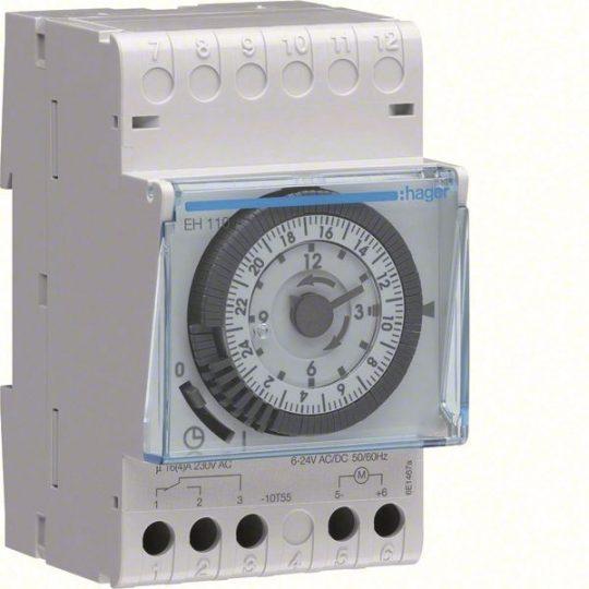 Hager EH110 Analóg napi kapcsolóóra, 1 váltó, 16A, 15perc/kapcsolás