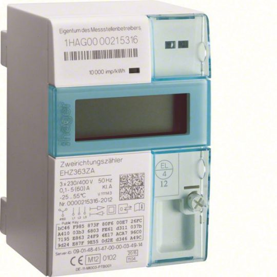 Hager EHZ363ZA Direkt fogyasztásmérő, hiteles, 3P, 0,1-60A, kétirányú mérés