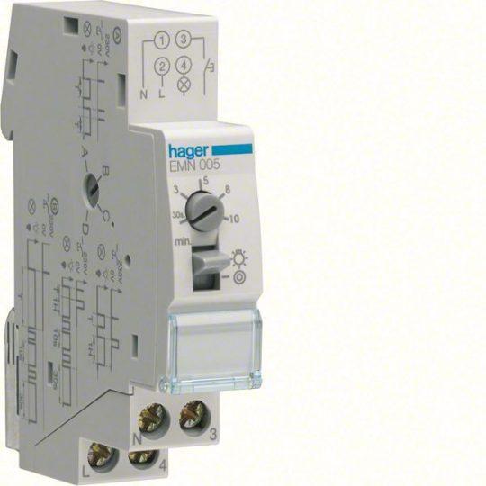 Hager EMN005 Lépcsőházi automata, 16A, 1Z, multifunkciós, újraindítható
