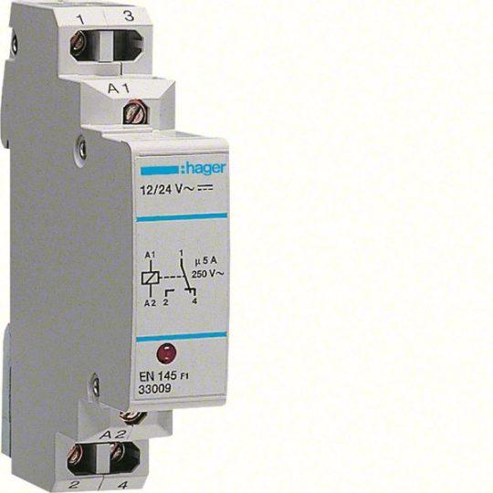 Hager EN145 Interfész relé, 1 váltó 5A-230V AC, 12-24V AC/DC