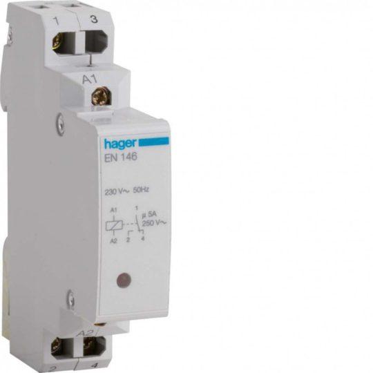 Hager EN146 Interfész relé, 1 váltó, 230V AC bemenet; 5A, 12V DC-250V AC kimenet