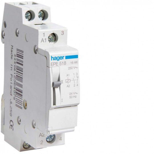Hager EPE518 Impulzusrelé, 1Z+1NY, 16A, 24V AC / 12V DC