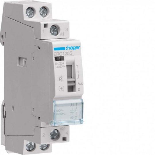 Hager ERC125S Csendes mágneskapcsoló kézi kapcsolással 1Z 25A 230V AC 50 Hz, I-0-II, moduláris